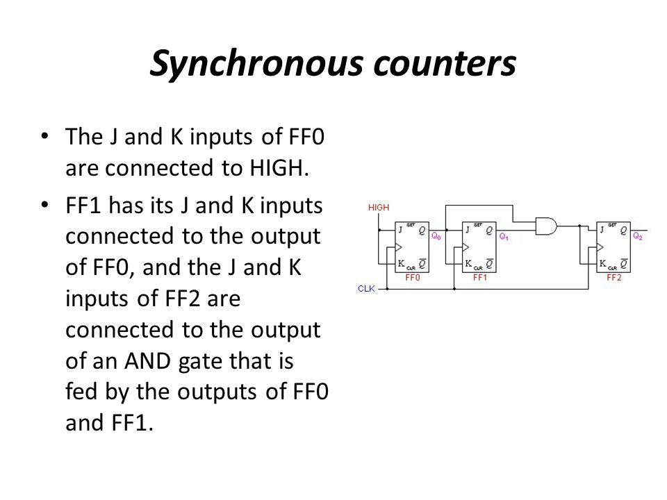 Synchronous counters The J and K inputs of FF0 are connected to HIGH. FF1 has its J and K inputs connected to the output of FF0, and the J and K input