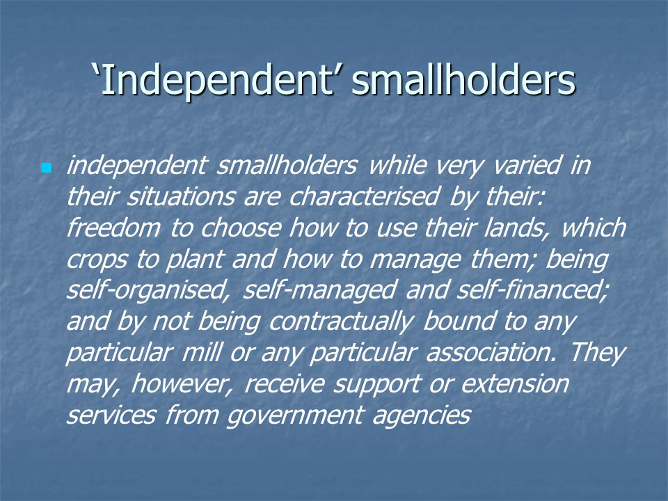 'Independent' smallholders independent smallholders while very varied in their situations are characterised by their: freedom to choose how to use their lands, which crops to plant and how to manage them; being self-organised, self-managed and self-financed; and by not being contractually bound to any particular mill or any particular association.