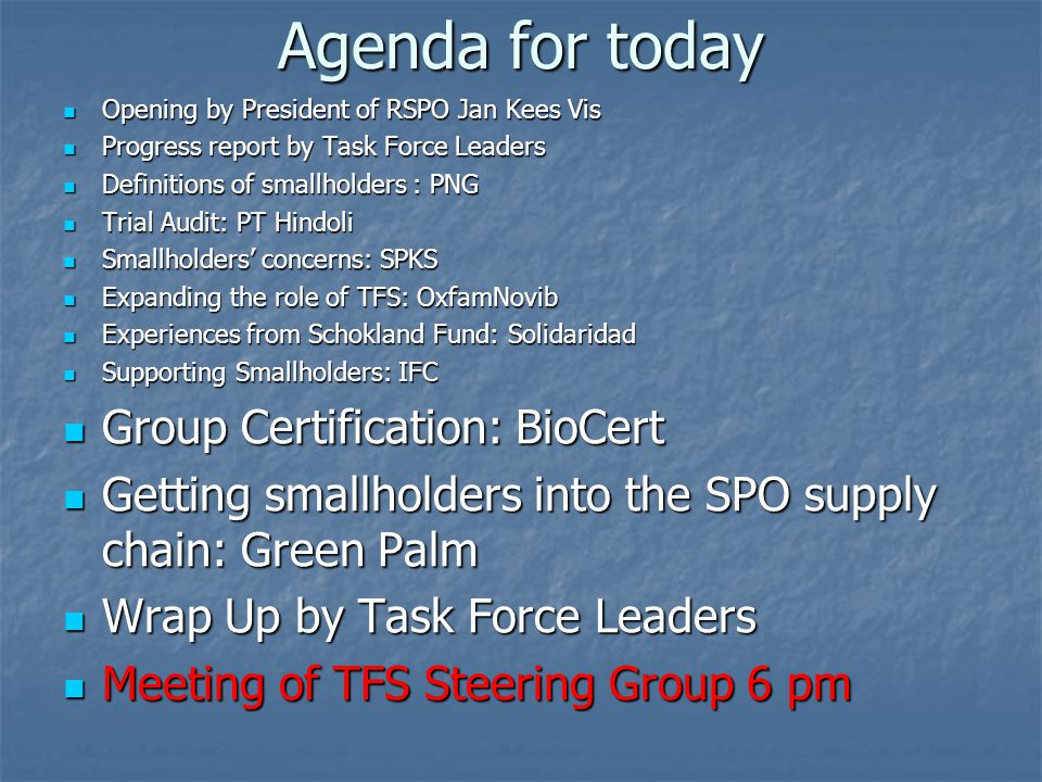 Agenda for today Opening by President of RSPO Jan Kees Vis Opening by President of RSPO Jan Kees Vis Progress report by Task Force Leaders Progress report by Task Force Leaders Definitions of smallholders : PNG Definitions of smallholders : PNG Trial Audit: PT Hindoli Trial Audit: PT Hindoli Smallholders' concerns: SPKS Smallholders' concerns: SPKS Expanding the role of TFS: OxfamNovib Expanding the role of TFS: OxfamNovib Experiences from Schokland Fund: Solidaridad Experiences from Schokland Fund: Solidaridad Supporting Smallholders: IFC Supporting Smallholders: IFC Group Certification: BioCert Group Certification: BioCert Getting smallholders into the SPO supply chain: Green Palm Getting smallholders into the SPO supply chain: Green Palm Wrap Up by Task Force Leaders Wrap Up by Task Force Leaders Meeting of TFS Steering Group 6 pm Meeting of TFS Steering Group 6 pm