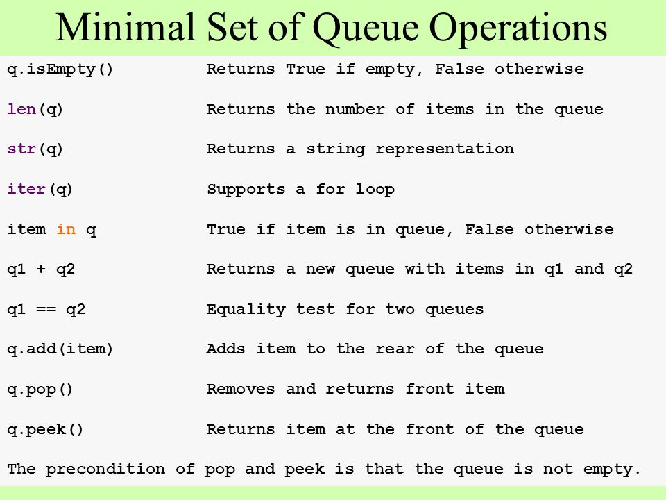 q.isEmpty()Returns True if empty, False otherwise len(q)Returns the number of items in the queue str(q)Returns a string representation iter(q)Supports a for loop item in qTrue if item is in queue, False otherwise q1 + q2Returns a new queue with items in q1 and q2 q1 == q2Equality test for two queues q.add(item)Adds item to the rear of the queue q.pop()Removes and returns front item q.peek()Returns item at the front of the queue The precondition of pop and peek is that the queue is not empty.