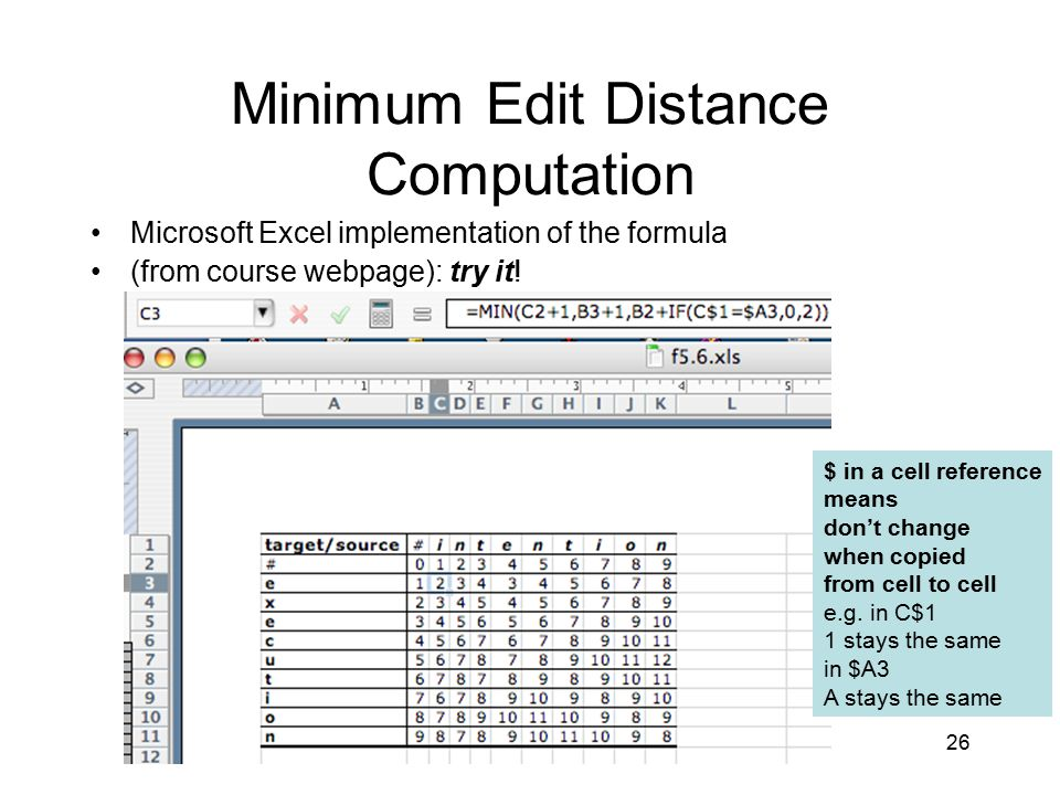 26 Minimum Edit Distance Computation Microsoft Excel implementation of the formula (from course webpage): try it.
