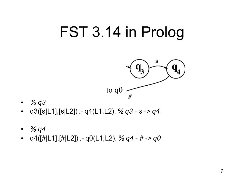 7 FST 3.14 in Prolog % q3 q3([s|L1],[s|L2]) :- q4(L1,L2). % q3 - s -> q4 % q4 q4([#|L1],[#|L2]) :- q0(L1,L2). % q4 - # -> q0 to q0