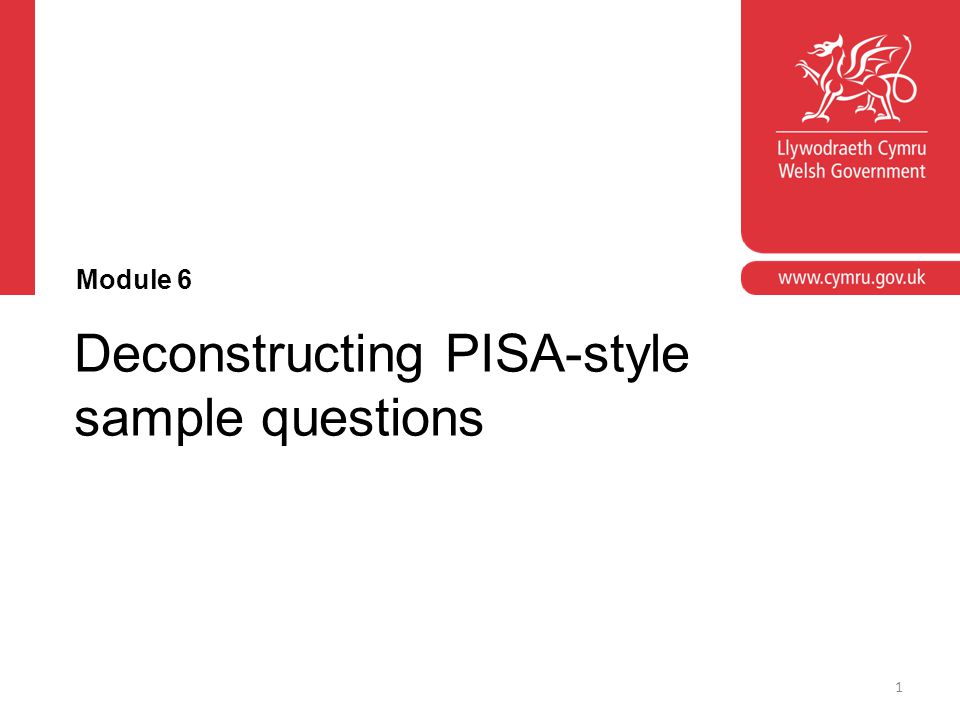 Deconstructing PISA-style sample questions Module 6 1