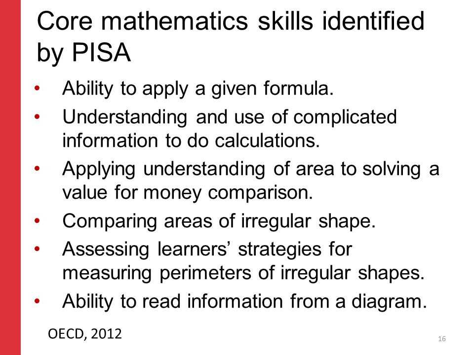 Corporate slide master With guidelines for corporate presentations Core mathematics skills identified by PISA Ability to apply a given formula.
