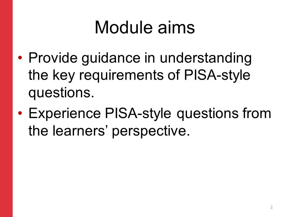 Corporate slide master With guidelines for corporate presentations Core scientific skills identified by PISA Demonstrating knowledge and understanding.