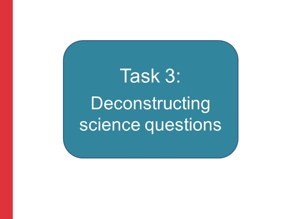 Corporate slide master With guidelines for corporate presentations Task 3: Deconstructing science questions