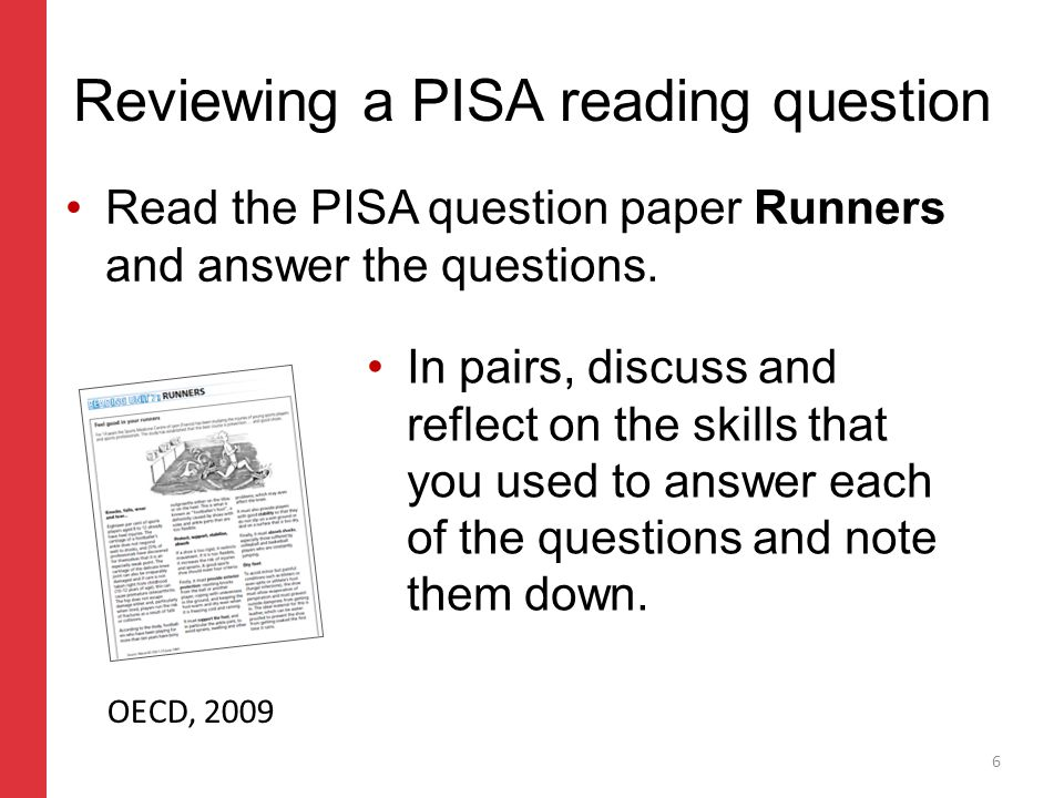 Corporate slide master With guidelines for corporate presentations Reviewing a PISA reading question Read the PISA question paper Runners and answer the questions.