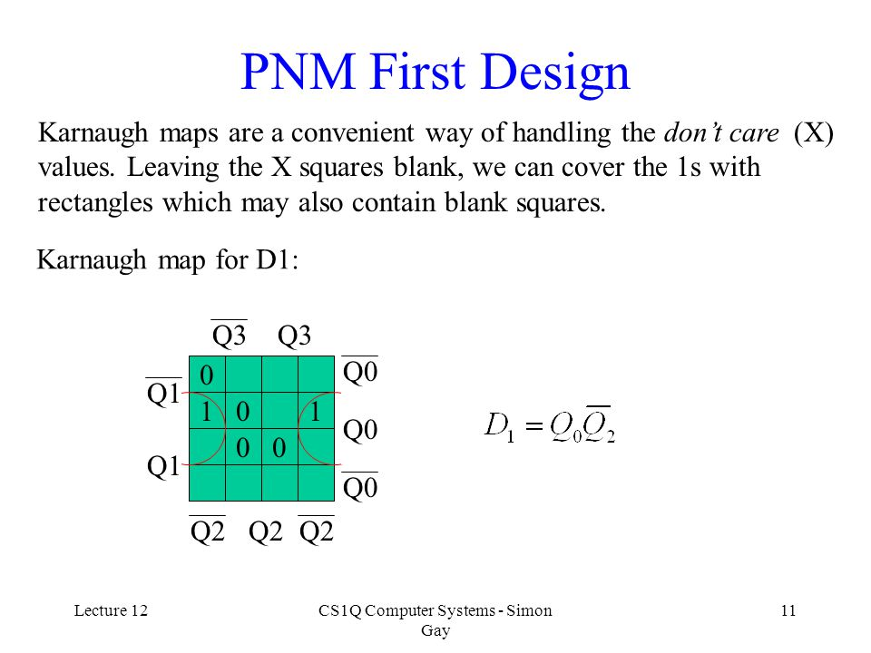 Lecture 12CS1Q Computer Systems - Simon Gay 11 PNM First Design Karnaugh maps are a convenient way of handling the don't care (X) values.