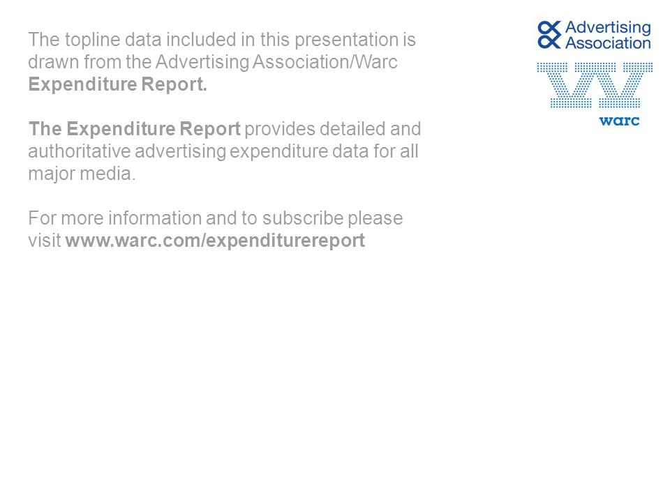 The topline data included in this presentation is drawn from the Advertising Association/Warc Expenditure Report. The Expenditure Report provides deta