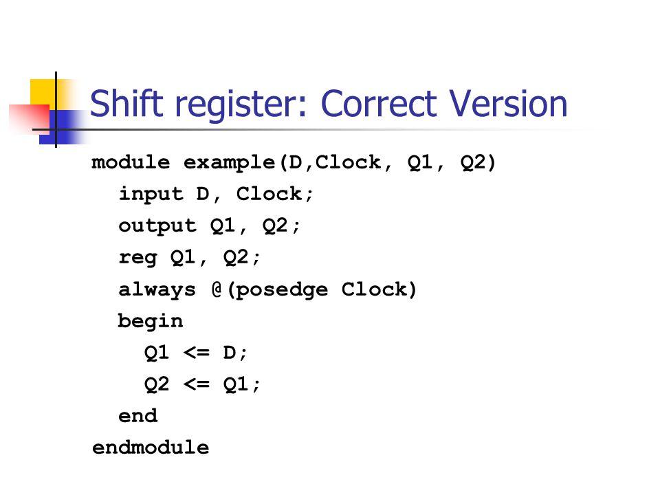 module example(D,Clock, Q1, Q2) input D, Clock; output Q1, Q2; reg Q1, Q2; always @(posedge Clock) begin end endmodule What is wrong here? Q1 = D; Q2