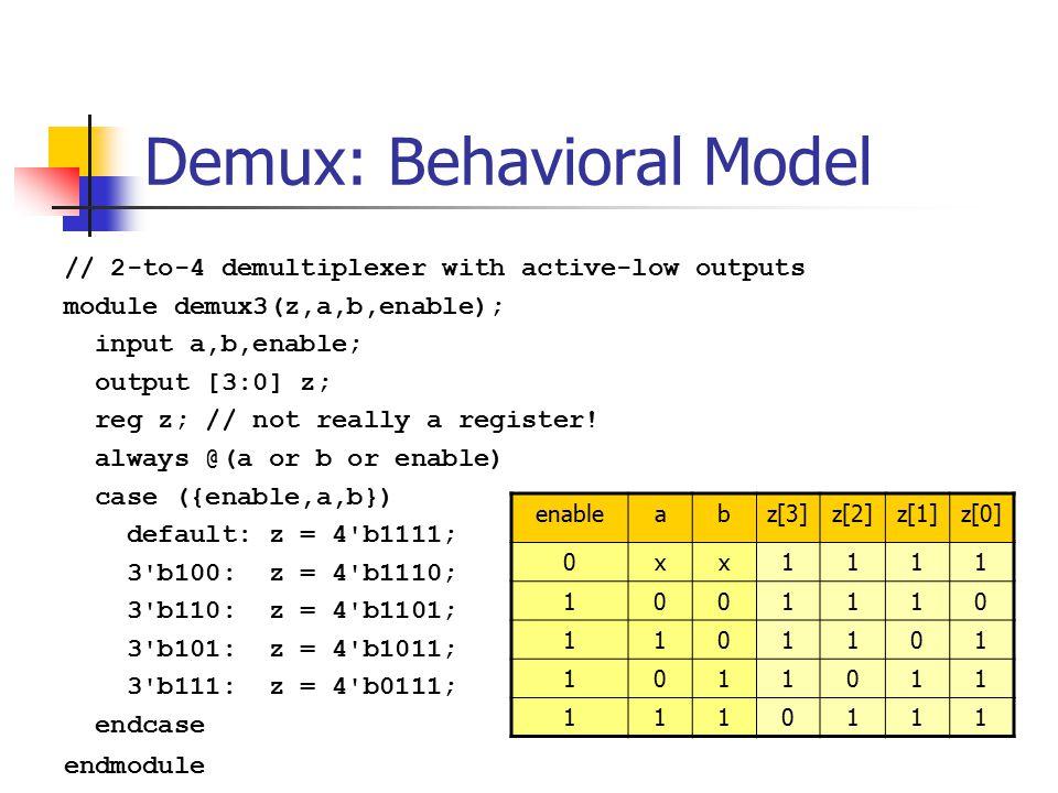 Demux: Dataflow model // 2-to-4 demux // dataflow model module demux2(z,a,b,enable); input a,b,enable; output [3:0] z; assign z[0] =   {~enable,a,b};