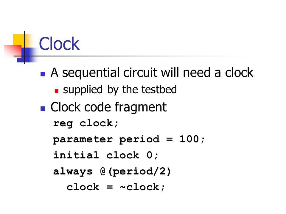 D Flip-flop module D_FF(Q,D,clock); output Q; input D, clock; reg Q; always @(negedge clock) Q <= D; endmodule