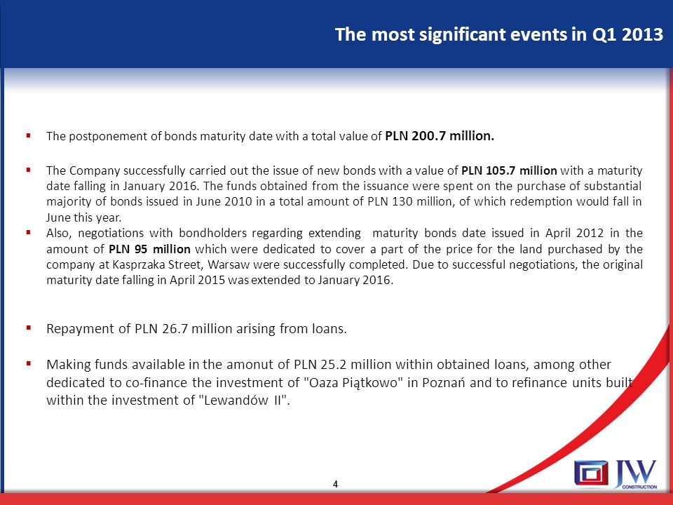 The most significant events in Q1 2013 4  The postponement of bonds maturity date with a total value of PLN 200.7 million.