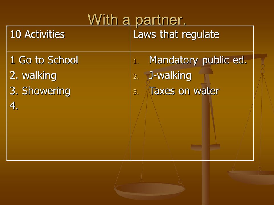 With a partner. 10 Activities Laws that regulate 1 Go to School 2. walking 3. Showering 4. 1. Mandatory public ed. 2. J-walking 3. Taxes on water