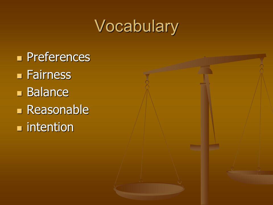 Vocabulary Preferences Preferences Fairness Fairness Balance Balance Reasonable Reasonable intention intention