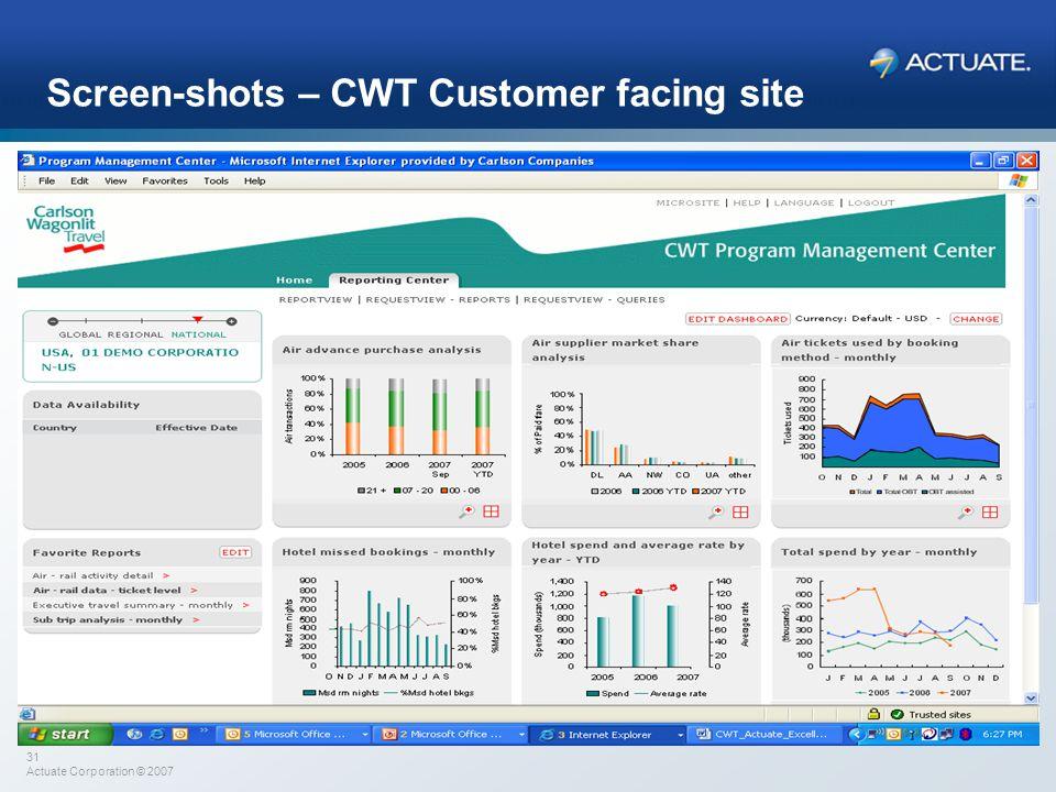 31 Actuate Corporation © 2007 Screen-shots – CWT Customer facing site Please add screen-shots