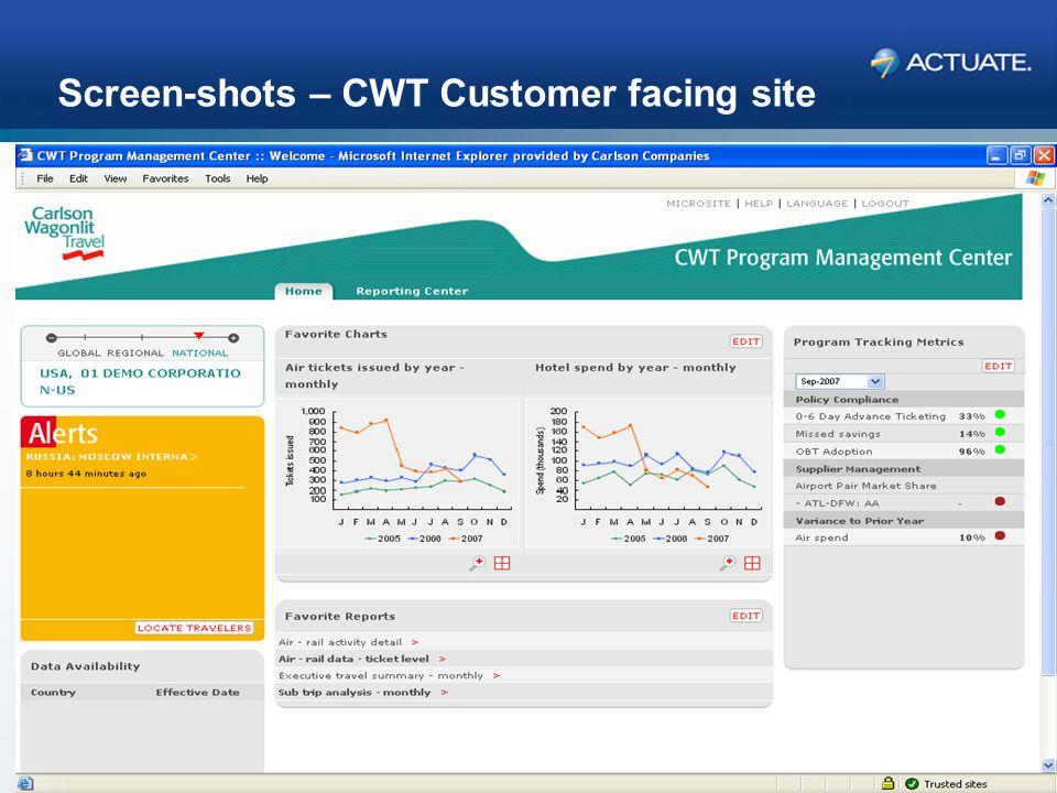 32 Actuate Corporation © 2007 Screen-shots – CWT Customer facing site Please add screen-shots