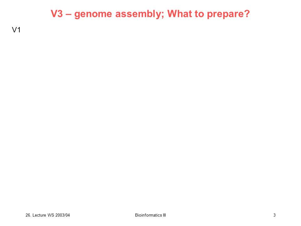 26. Lecture WS 2003/04Bioinformatics III34 What to prepare? V6 – human mouse comparison V1