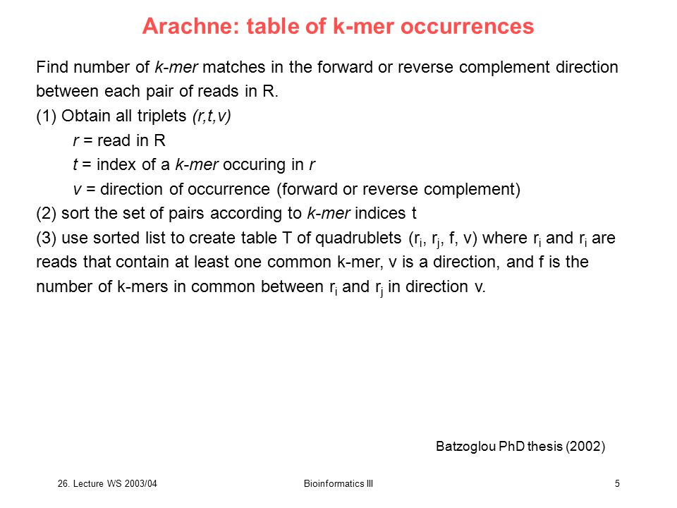 26.Lecture WS 2003/04Bioinformatics III26 4 types of gaps in MUM alignment Delcher et al.