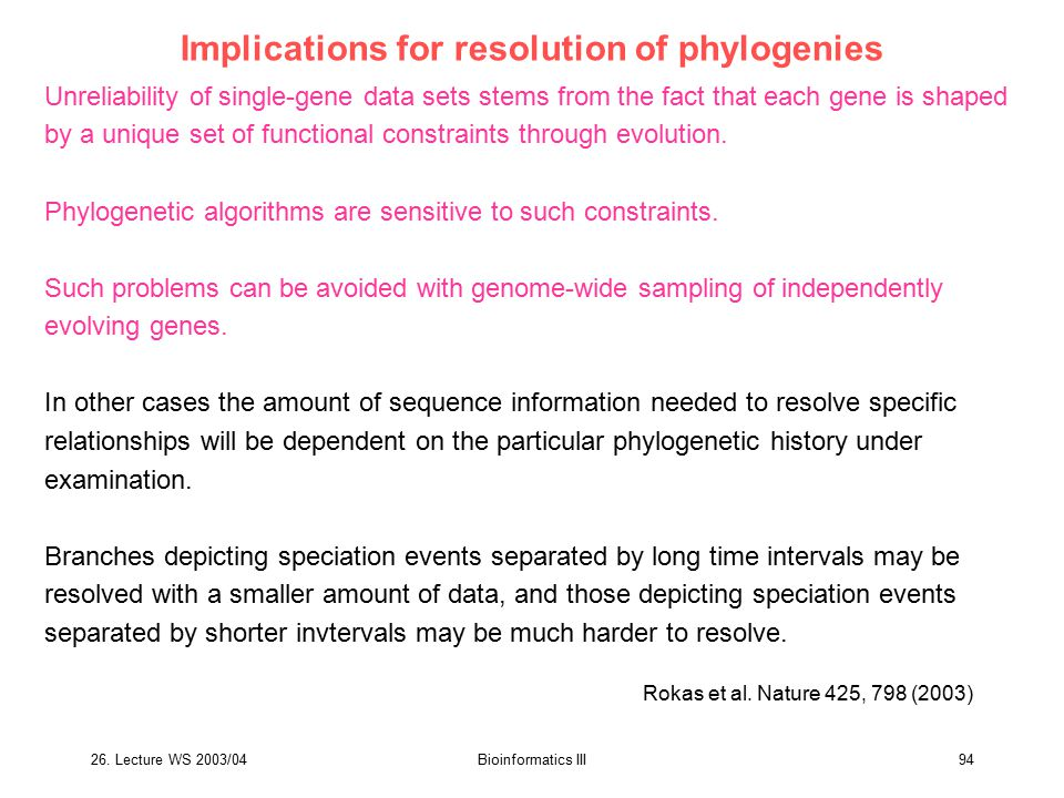 26. Lecture WS 2003/04Bioinformatics III94 Implications for resolution of phylogenies Unreliability of single-gene data sets stems from the fact that