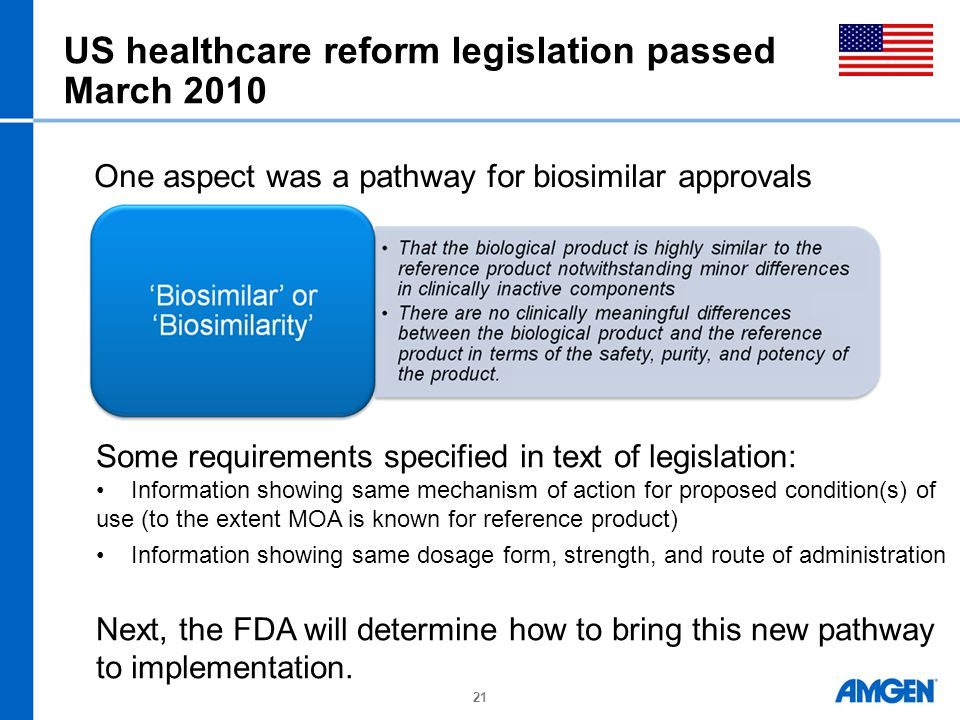 US healthcare reform legislation passed March 2010 21 Some requirements specified in text of legislation: Information showing same mechanism of action
