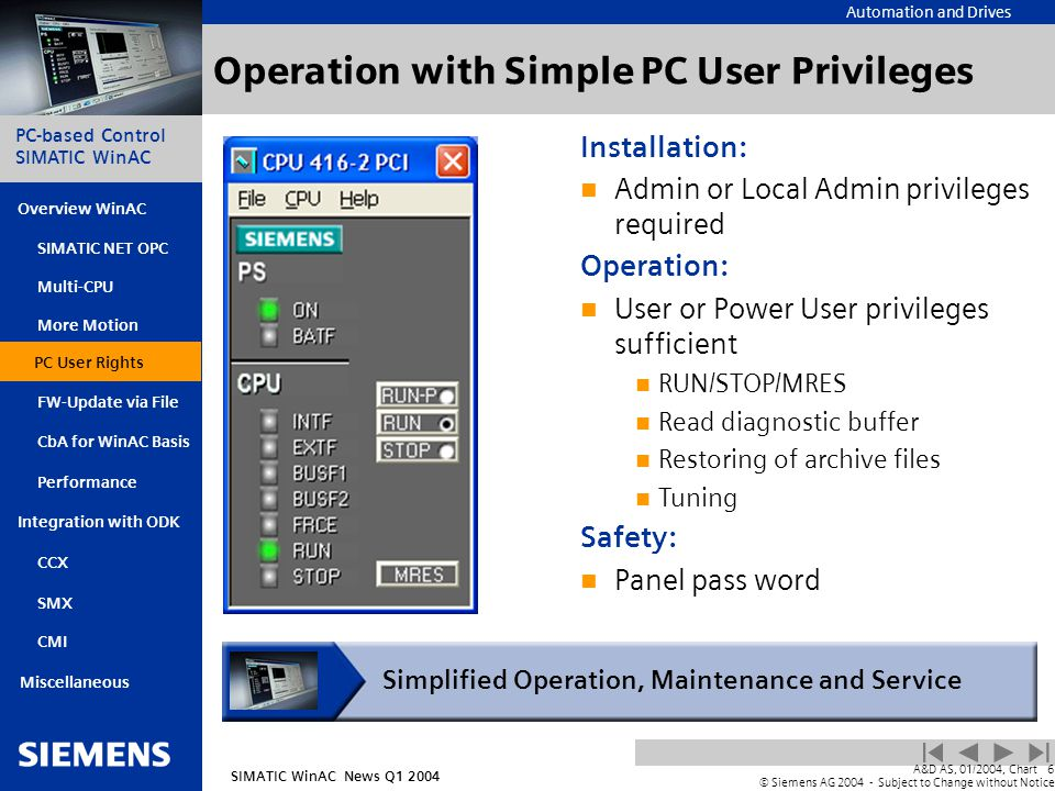 Automation and Drives SIMATIC WinAC News Q1 2004 PC-based Control SIMATIC WinAC Overview WinAC PC User Rights FW-Update via File CbA for WinAC Basis Integration with ODK SIMATIC NET OPC Multi-CPU More Motion SMX CMI Miscellaneous A&D AS, 01/2004, Chart6 © Siemens AG 2004 - Subject to Change without Notice Performance CCX Operation with Simple PC User Privileges Installation: Admin or Local Admin privileges required Operation: User or Power User privileges sufficient RUN/STOP/MRES Read diagnostic buffer Restoring of archive files Tuning Safety: Panel pass word Simplified Operation, Maintenance and Service PC User Rights