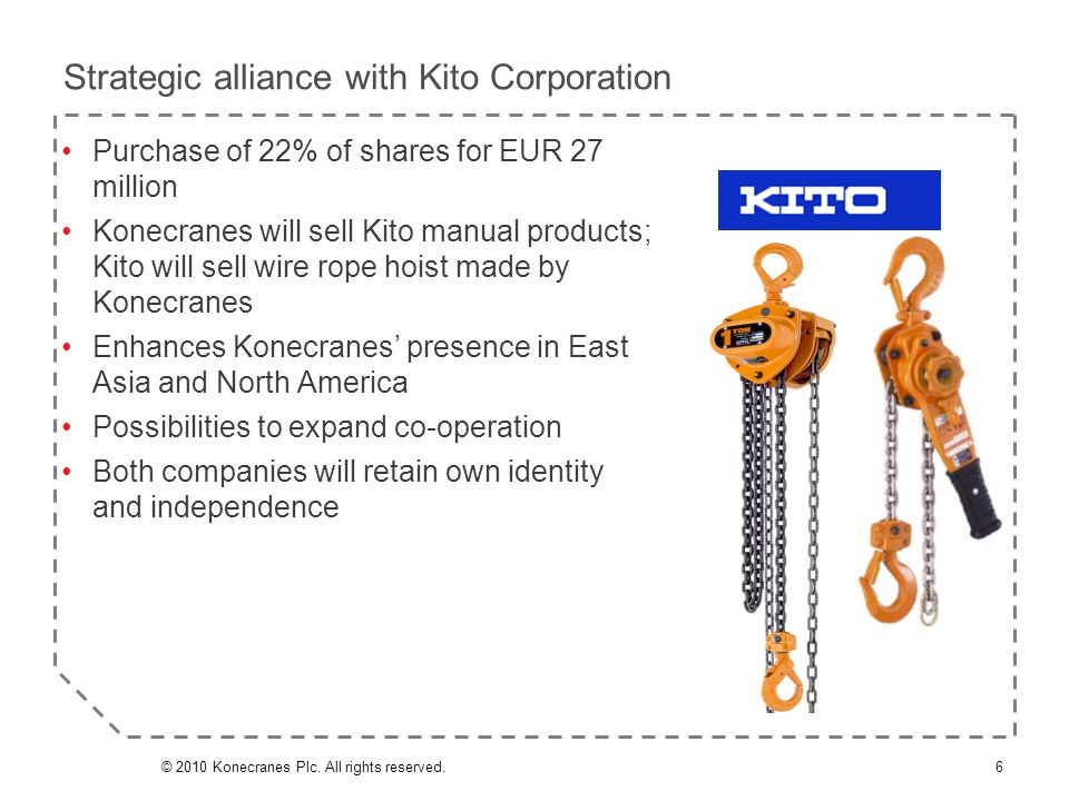 Purchase of 22% of shares for EUR 27 million Konecranes will sell Kito manual products; Kito will sell wire rope hoist made by Konecranes Enhances Kon
