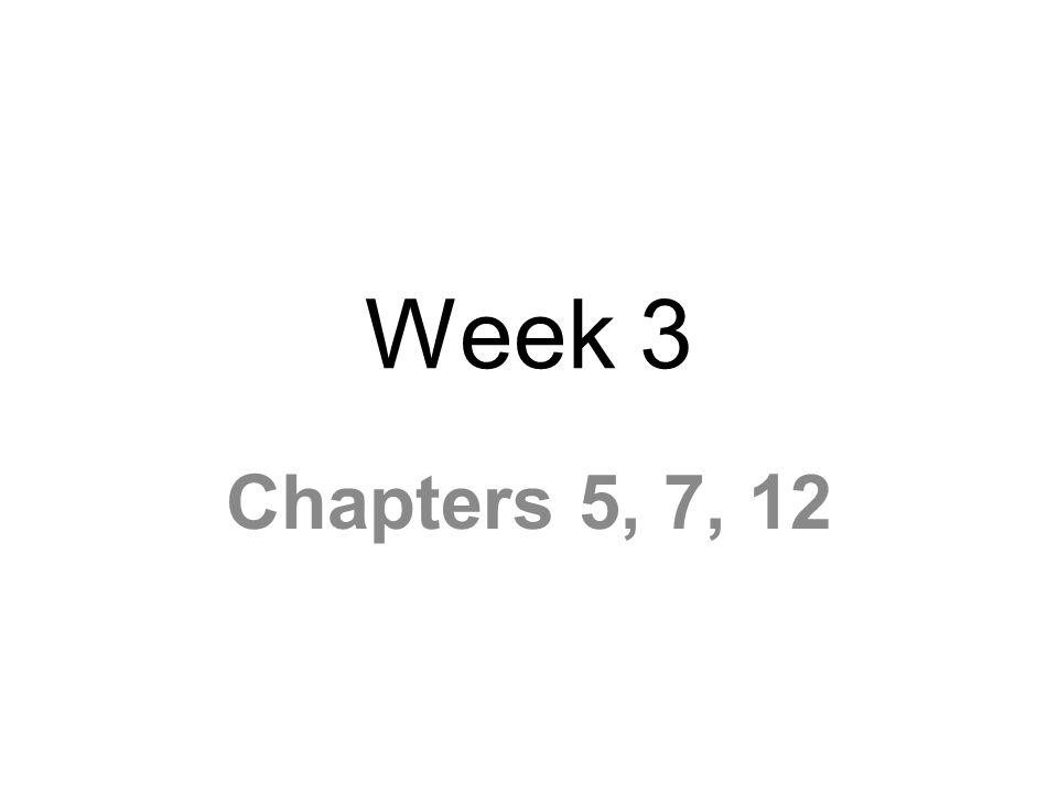 Week 3 Chapters 5, 7, 12