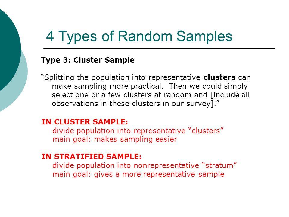 4 Types of Random Samples Type 3: Cluster Sample Splitting the population into representative clusters can make sampling more practical.
