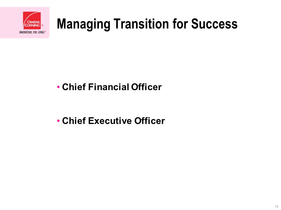 18 Managing Transition for Success Chief Financial Officer Chief Executive Officer