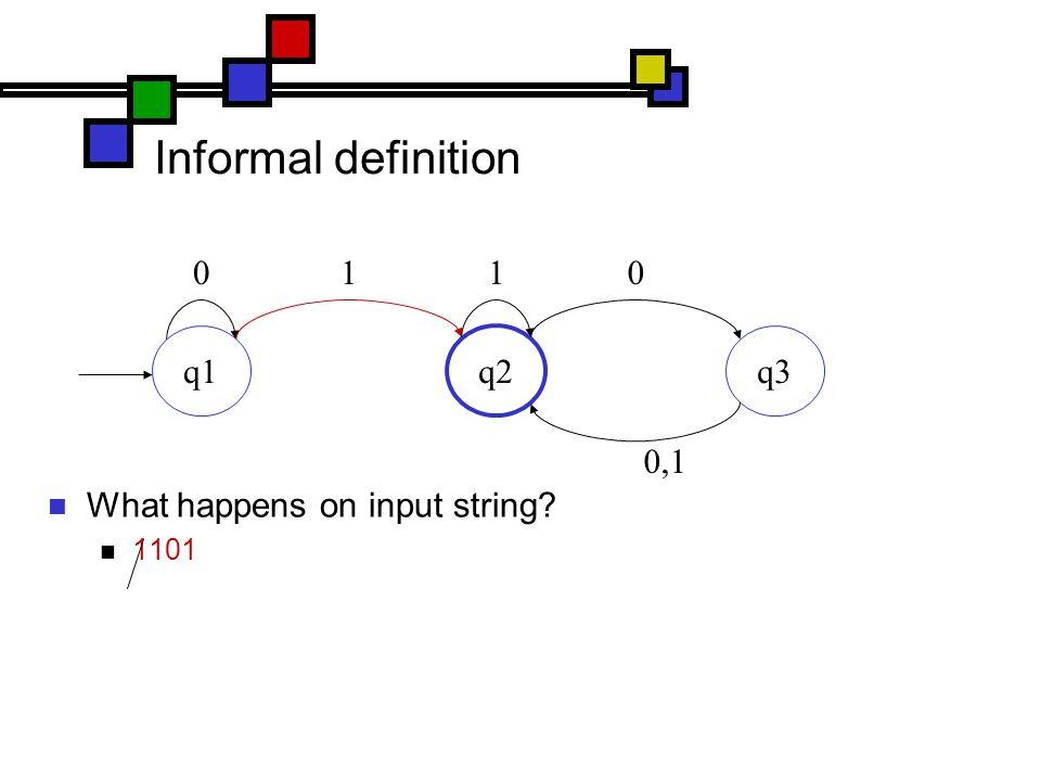Informal definition What happens on input string 1101 q1 q2 q3 0110 0,1
