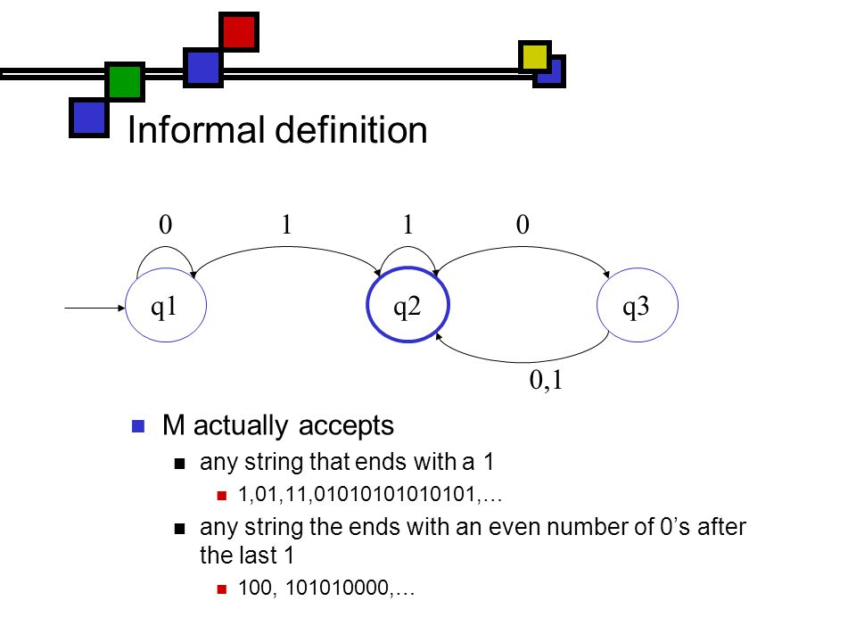 Informal definition M actually accepts any string that ends with a 1 1,01,11,01010101010101,… any string the ends with an even number of 0's after the last 1 100, 101010000,… q1 q2 q3 0110 0,1