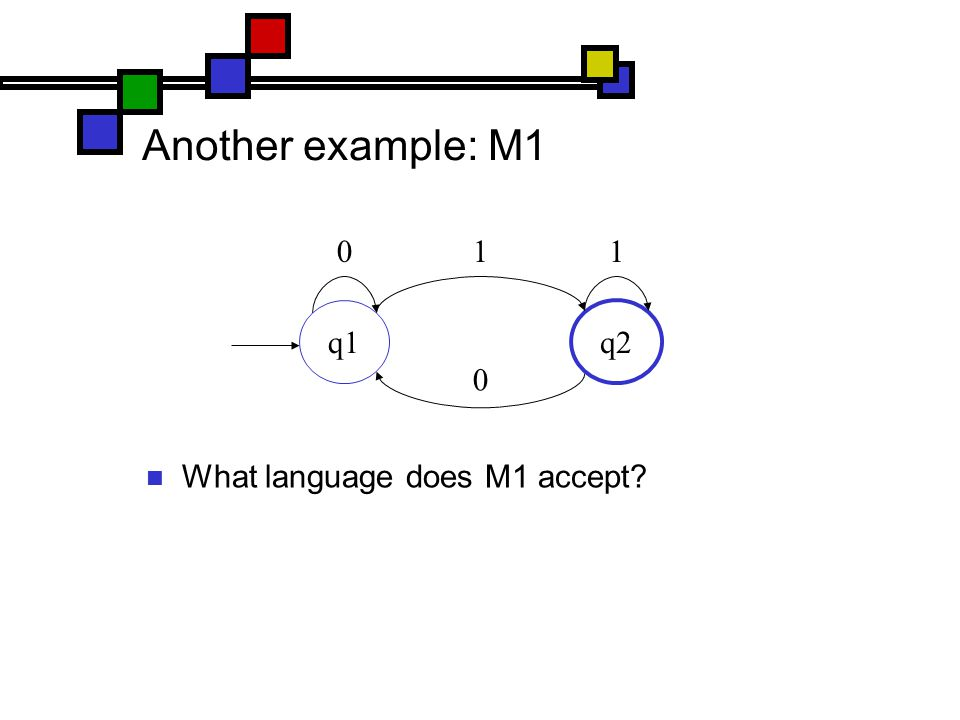 Another example: M1 What language does M1 accept q1 q2 011 0