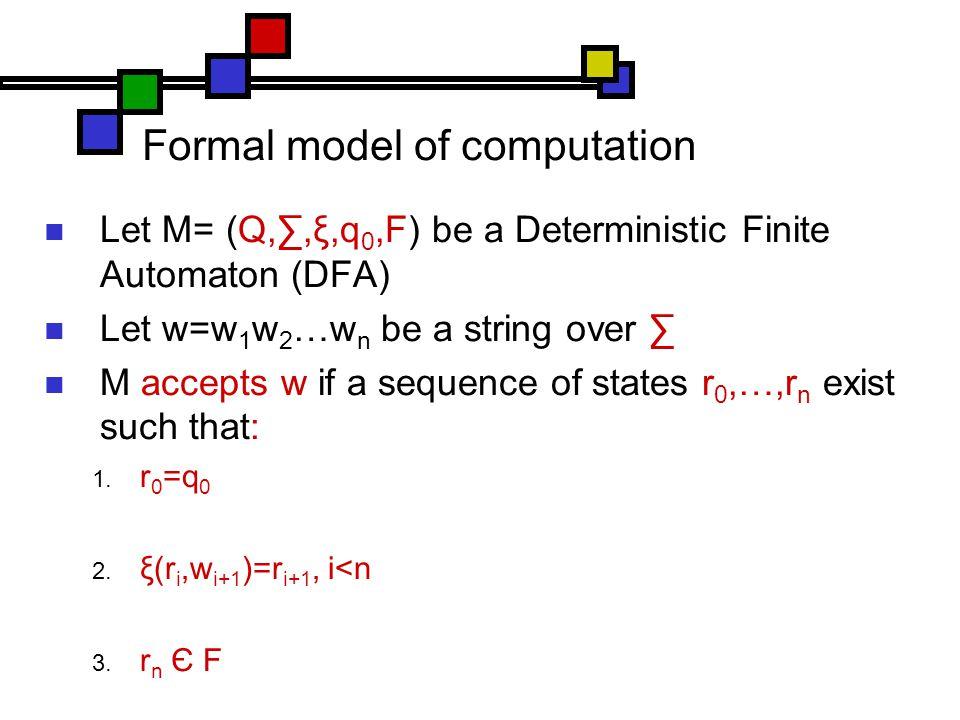 Formal model of computation Let M= (Q,∑,ξ,q 0,F) be a Deterministic Finite Automaton (DFA) Let w=w 1 w 2 …w n be a string over ∑ M accepts w if a sequence of states r 0,…,r n exist such that:  r 0 =q 0  ξ(r i,w i+1 )=r i+1, i<n  r n Є F