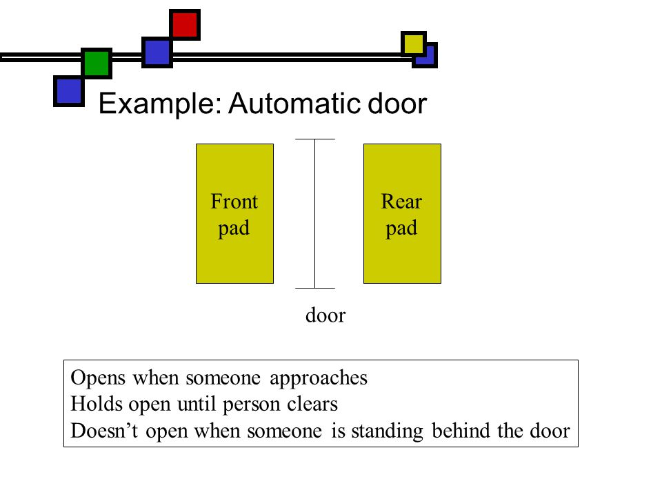 Example: Automatic door Front pad Rear pad door Opens when someone approaches Holds open until person clears Doesn't open when someone is standing behind the door