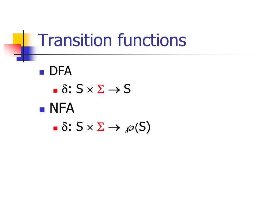 Transition functions DFA  : S    S NFA  : S     ( S)