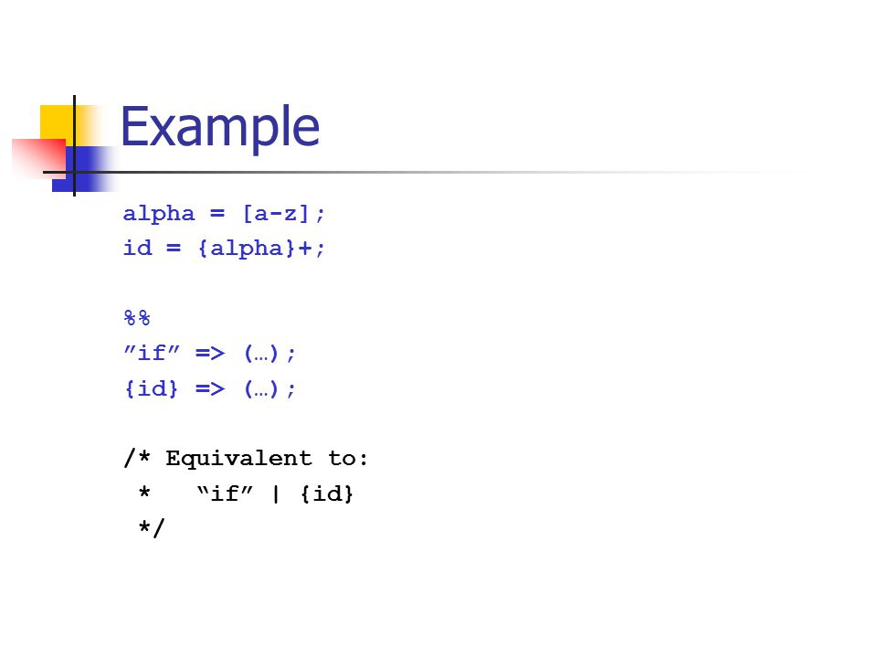 """Example alpha = [a-z]; id = {alpha}+; % """"if"""" => (…); {id} => (…); /* Equivalent to: * """"if"""" 