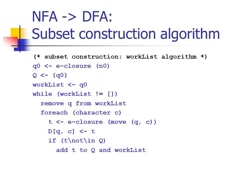 NFA -> DFA: Subset construction algorithm (* subset construction: workList algorithm *) q0 <- e-closure (n0) Q <- {q0} workList <- q0 while (workList != []) remove q from workList foreach (character c) t <- e-closure (move (q, c)) D[q, c] <- t if (t\not\in Q) add t to Q and workList