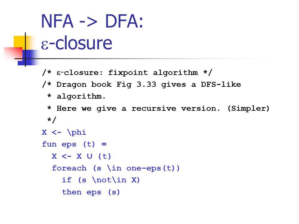 NFA -> DFA:  -closure /*  - closure: fixpoint algorithm */ /* Dragon book Fig 3.33 gives a DFS-like * algorithm. * Here we give a recursive version.