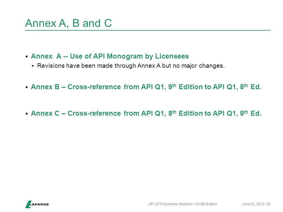 Annex A, B and C  Annex A -- Use of API Monogram by Licensees  Revisions have been made through Annex A but no major changes.  Annex B – Cross-refe