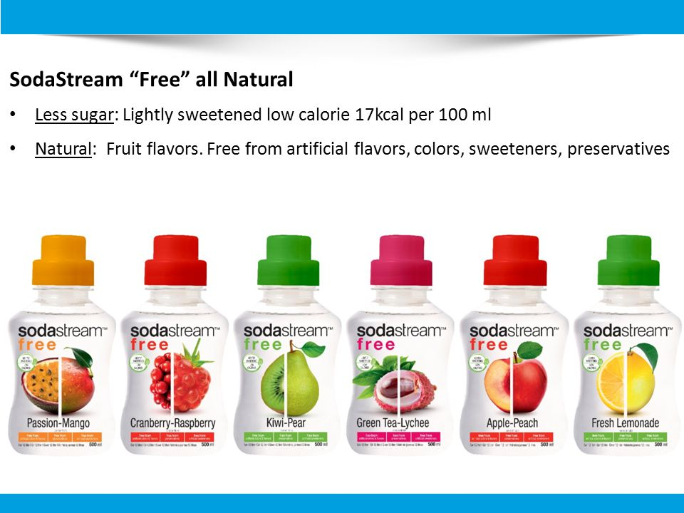 SodaStream Free all Natural Less sugar: Lightly sweetened low calorie 17kcal per 100 ml Natural: Fruit flavors.
