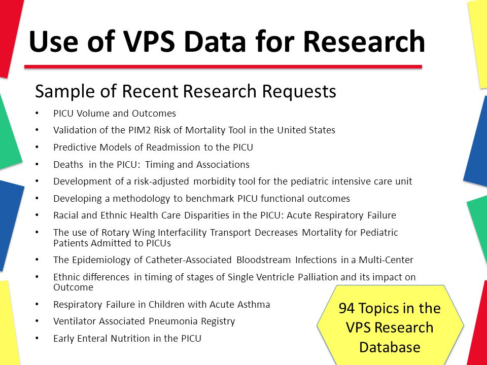 Use of VPS Data for Research Sample of Recent Research Requests PICU Volume and Outcomes Validation of the PIM2 Risk of Mortality Tool in the United States Predictive Models of Readmission to the PICU Deaths in the PICU: Timing and Associations Development of a risk-adjusted morbidity tool for the pediatric intensive care unit Developing a methodology to benchmark PICU functional outcomes Racial and Ethnic Health Care Disparities in the PICU: Acute Respiratory Failure The use of Rotary Wing Interfacility Transport Decreases Mortality for Pediatric Patients Admitted to PICUs The Epidemiology of Catheter-Associated Bloodstream Infections in a Multi-Center Ethnic differences in timing of stages of Single Ventricle Palliation and its impact on Outcome Respiratory Failure in Children with Acute Asthma Ventilator Associated Pneumonia Registry Early Enteral Nutrition in the PICU 94 Topics in the VPS Research Database