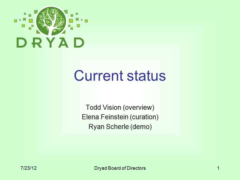 Current status Todd Vision (overview) Elena Feinstein (curation) Ryan Scherle (demo) 7/23/12Dryad Board of Directors1