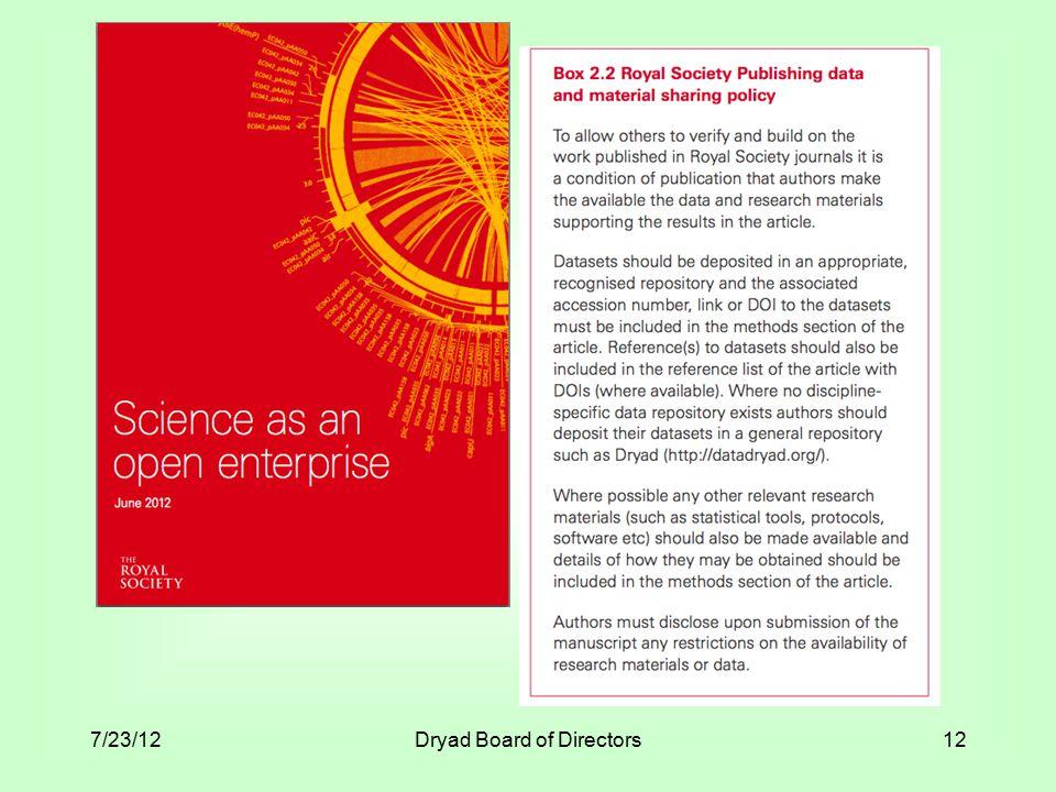 7/23/12Dryad Board of Directors12