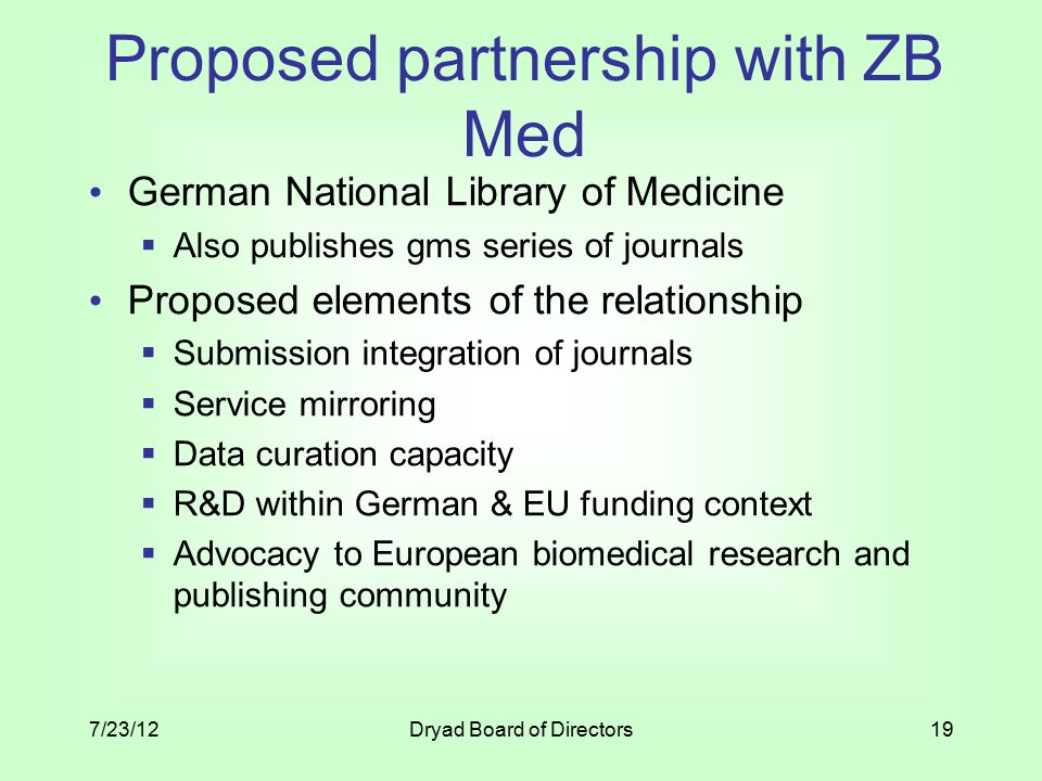 Proposed partnership with ZB Med German National Library of Medicine  Also publishes gms series of journals Proposed elements of the relationship  Submission integration of journals  Service mirroring  Data curation capacity  R&D within German & EU funding context  Advocacy to European biomedical research and publishing community 7/23/12Dryad Board of Directors19