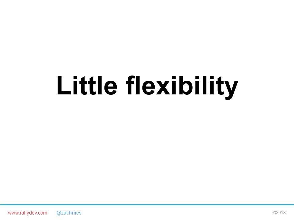 www.rallydev.com @zachnies ©2013 Little flexibility