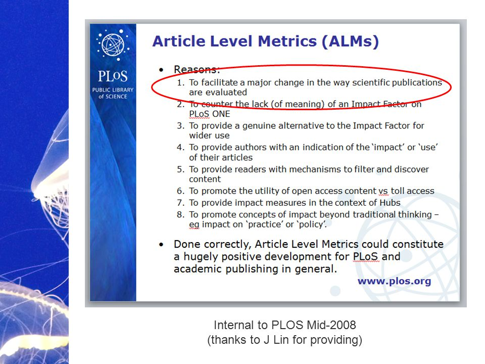 Academic Publishing is Evolving… Internal to PLOS Mid-2008 (thanks to J Lin for providing)