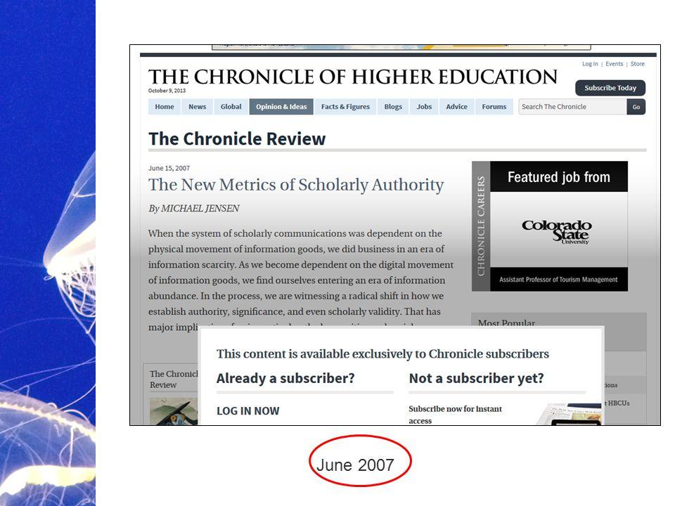Academic Publishing is Evolving… June 2007