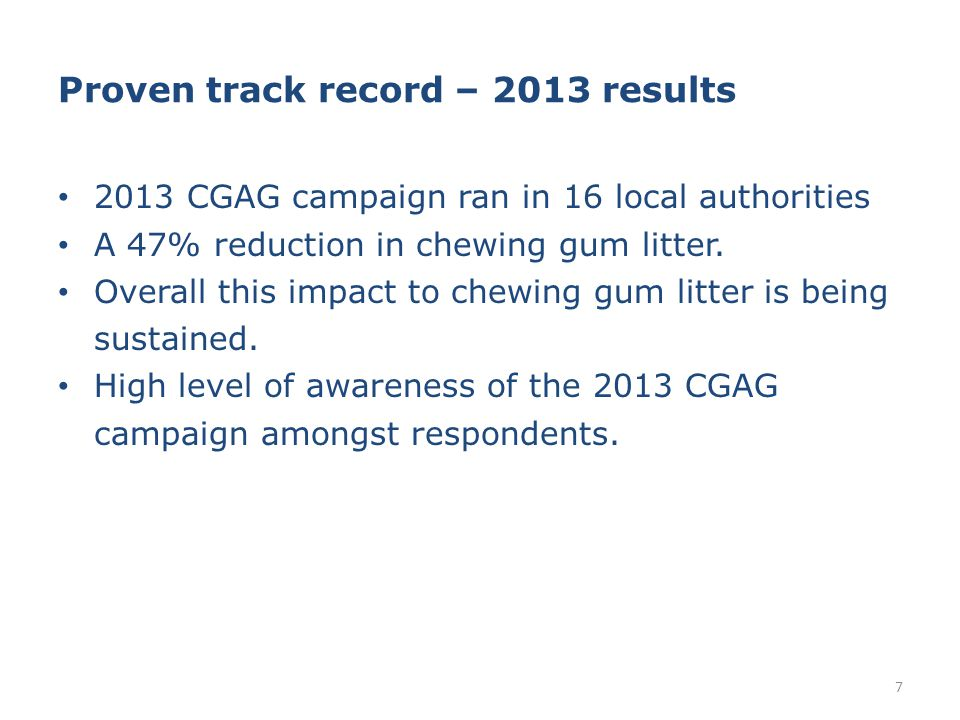 Proven track record – 2013 results 2013 CGAG campaign ran in 16 local authorities A 47% reduction in chewing gum litter.