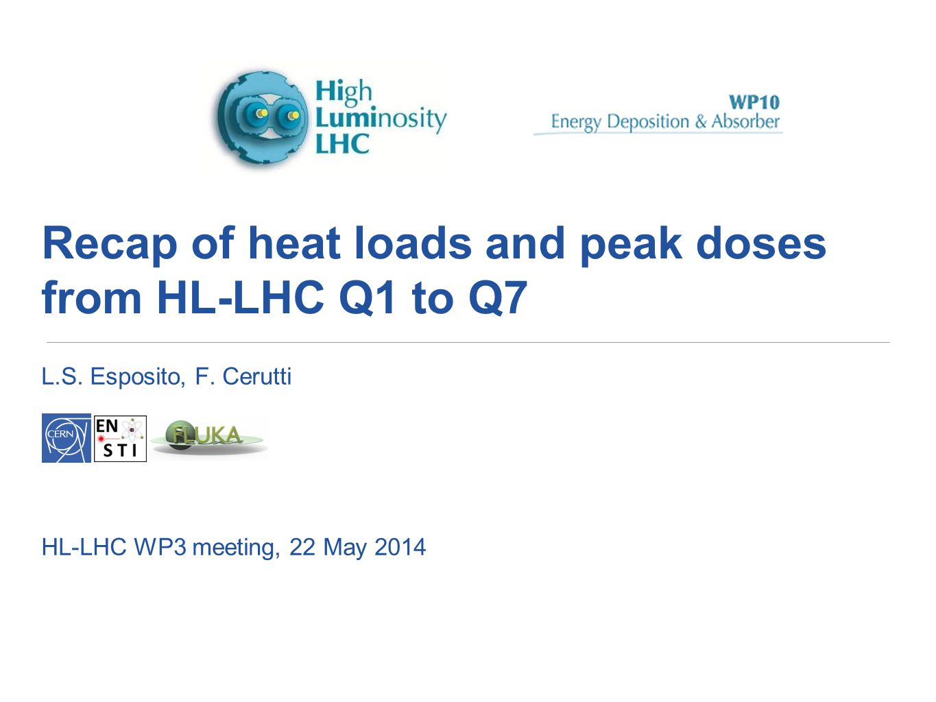 Recap of heat loads and peak doses from HL-LHC Q1 to Q7 L.S. Esposito, F. Cerutti HL-LHC WP3 meeting, 22 May 2014